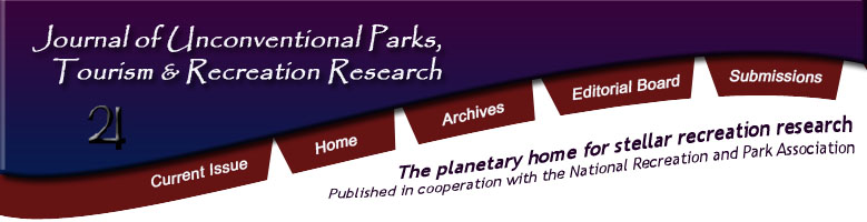 Journal of Unconventional Parks, Tourism and Recreation Research. The planetary home for stellar recreation research. Published in cooperation with the National Recreation and Park Association